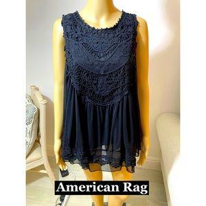 American Rag , Sheer W/Lace, lined Tunic Sz XL